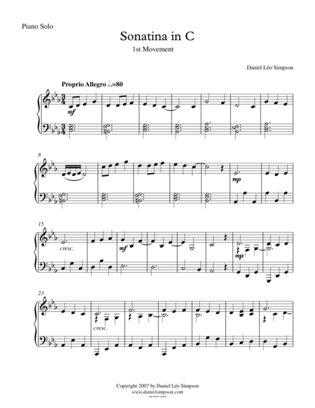 Sonatina in C for Piano Solo - 1st Mvt.