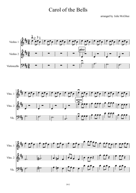 Carol of The Bells for Strings (score)