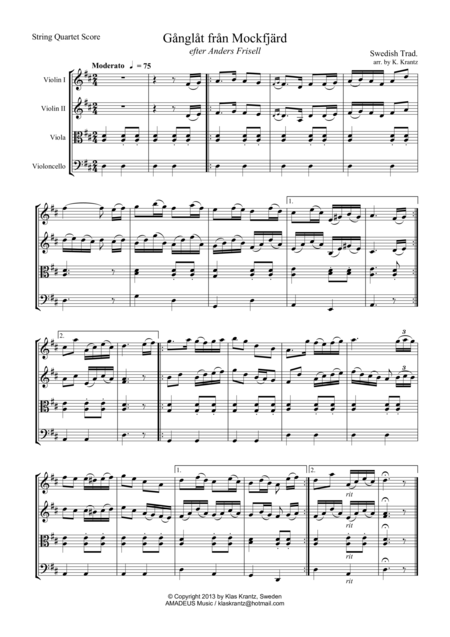 Ganglat fran Mockfjard for string quartet