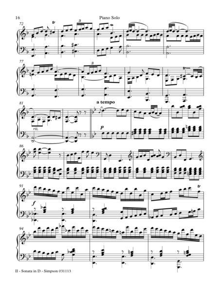 Sonata in D for Piano Solo - 2nd Mvt.