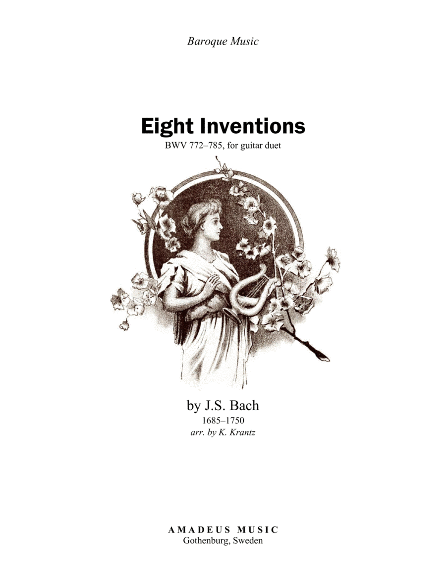 8 inventions by Bach transcribed for classical guitar duo