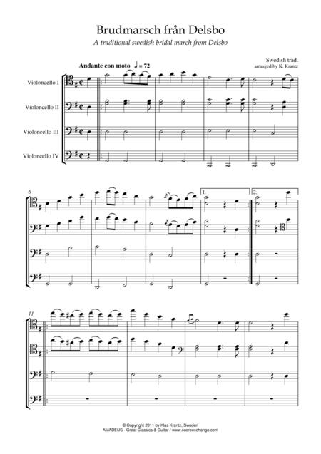Brudmarsch fran Delsbo for cello quartet