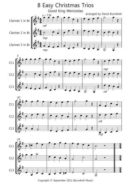 8 Easy Christmas Trios for Clarinet