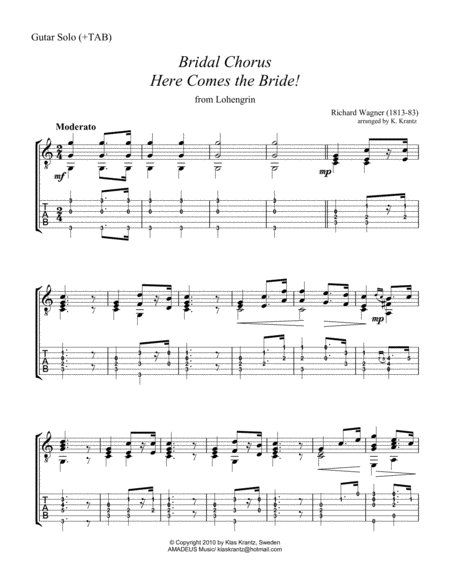 Bridal Chorus / Here Comes the Bride! for easy guitar solo (+TAB)