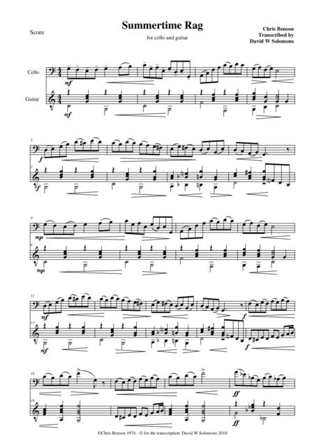 Summertime Rag for cello and guitar