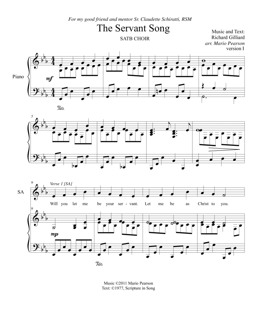 The Servant Song SATB Piano (version 1)