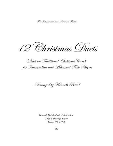 12 Christmas Duets for Flutes