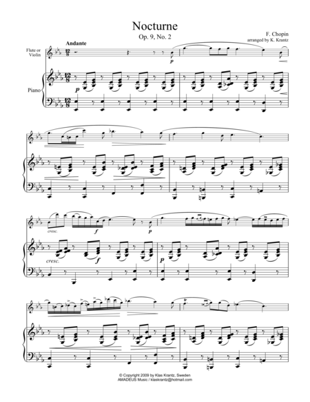 Nocturne, Op 9 No. 2, (abridged) for violin or flute and piano