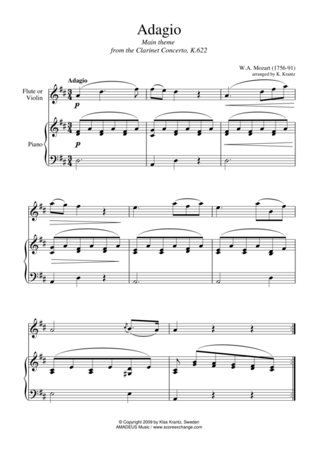 Adagio from the clarinet concerto (abridged) for flute or violin and easy piano
