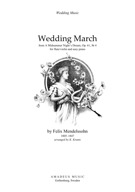 Wedding March for flute or violin and easy piano