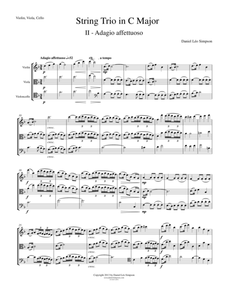String Trio in C Major (Violin, Viola, Cello) 2nd Mvt.