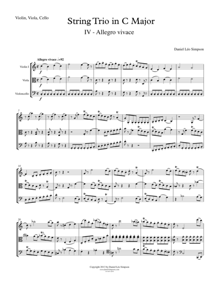 String Trio in C Major (Violin, Viola, Cello) 4th Mvt.