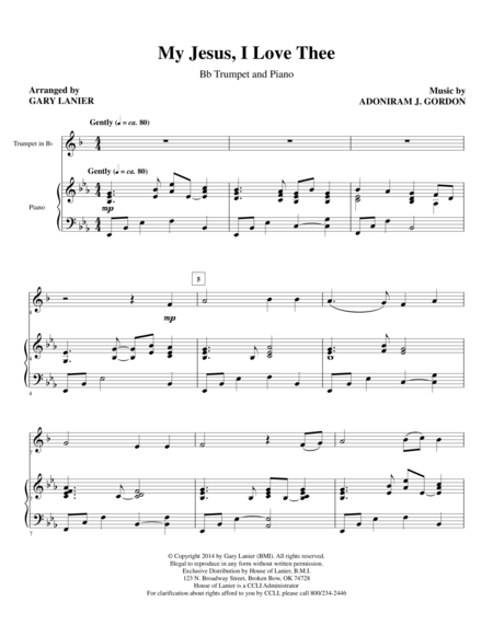 MY JESUS I LOVE THEE (Bb Trumpet/Piano and Trp Part)