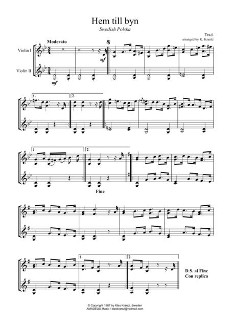 Hem till byn (polska) for two violins