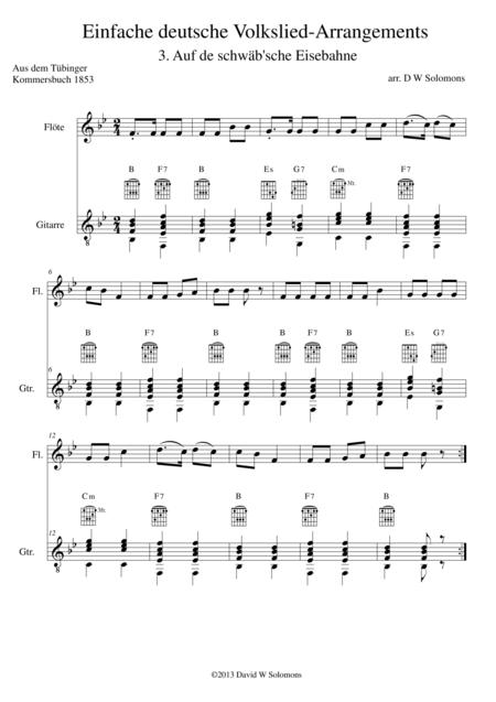 Railway Song (Auf de schwäb'sche Eisebahne) for flute and guitar