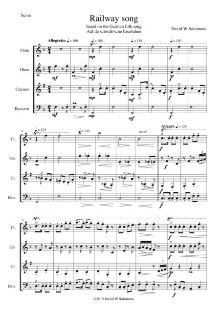 Railway Song (Auf de schwäb'sche Eisebahne) for wind quartet