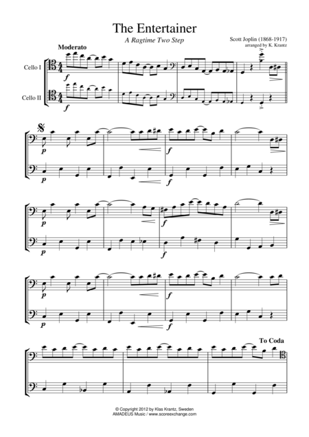 The Entertainer, Ragtime (easy, abridged) for cello duet