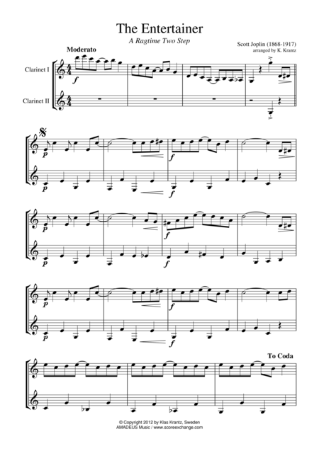 The Entertainer, Ragtime (easy, abridged) for clarinet duet