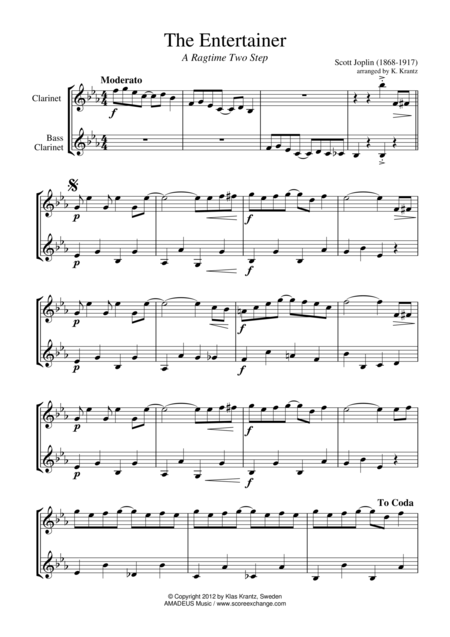 The Entertainer, Ragtime (easy, abridged) for clarinet duet (bass)