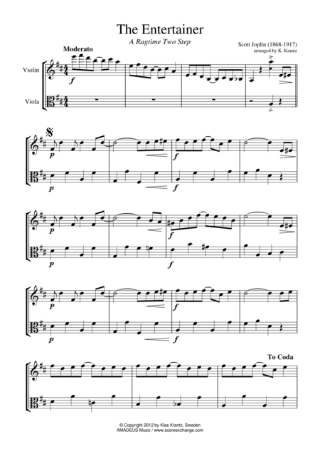 The Entertainer, Ragtime (easy, abridged) for violin and viola