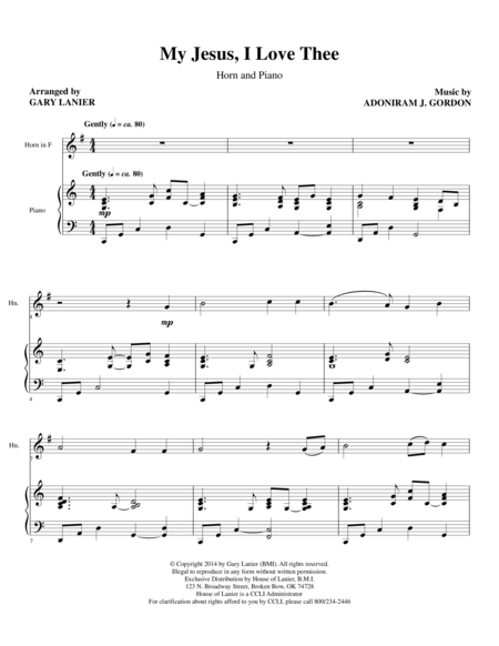 MY JESUS I LOVE THEE (F Horn/Piano and Hrn Part)