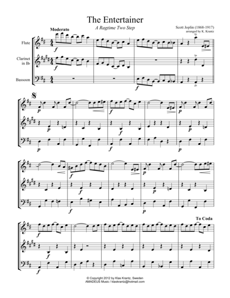 The Entertainer, Ragtime (easy, abridged) for wind trio (fl, cl, bsn)
