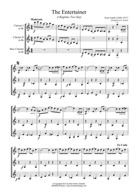 The Entertainer, Ragtime (easy, abridged) for clarinet trio (C Major)