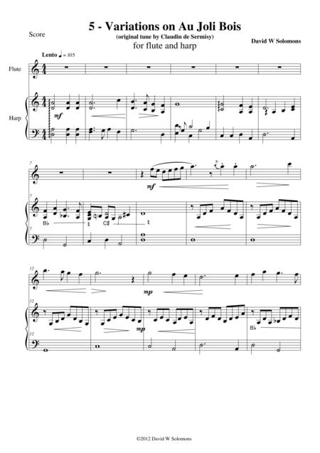 Variations on Au joli Bois for flute and harp