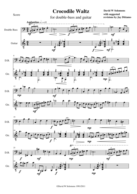 Crocodile Waltz for double bass and guitar