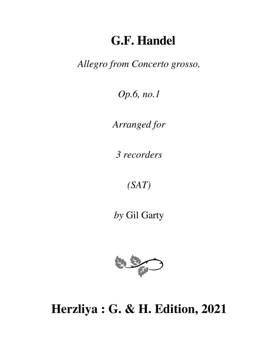 Allegro from Concerto grosso, Op.6, no.1 in G major (arrangement for 3 recorders)