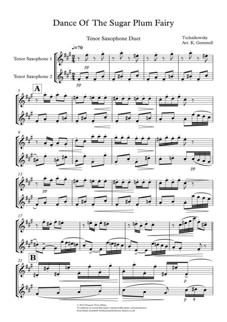 Dance Of  The Sugar Plum Fairy: Tenor Saxophone Duet