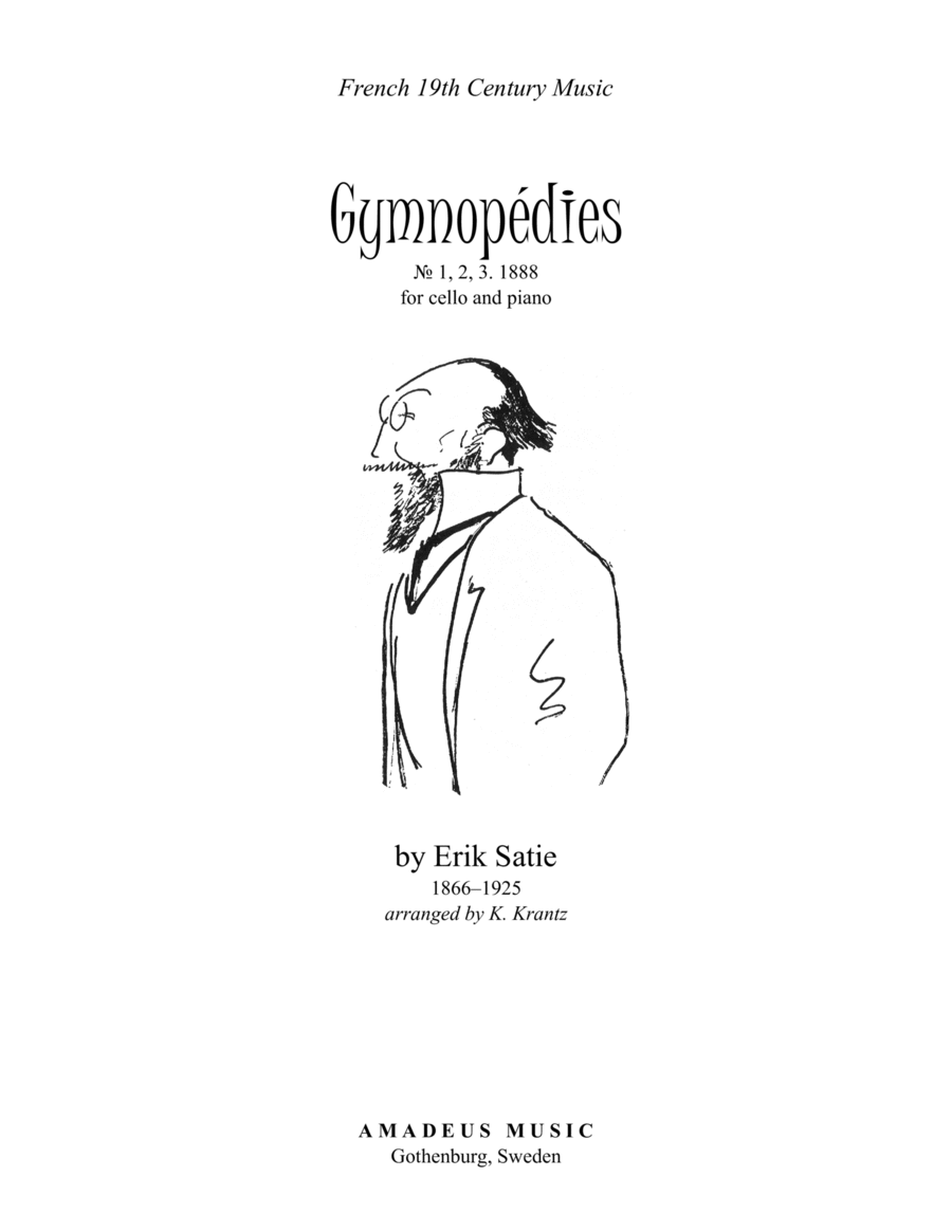 Gymnopedies (1,2,3) for cello and easy piano