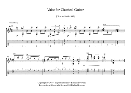 Valse for Classical Guitar solo