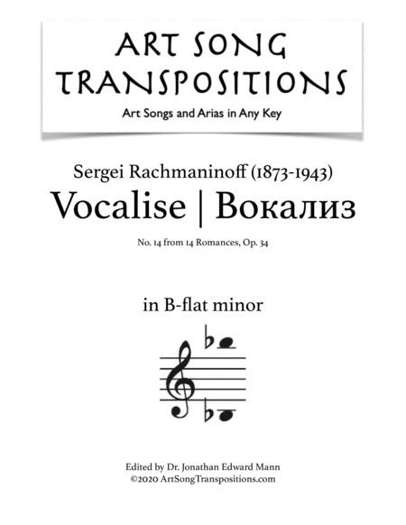 Vocalise, Op. 34 no. 14 (B-flat minor)