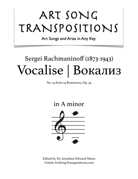 Vocalise, Op. 34 no. 14 (A minor)