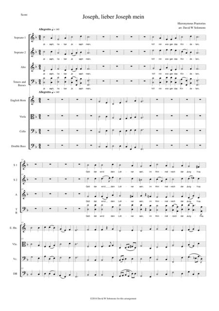 Josef, lieber Josef mein for choir and low instruments