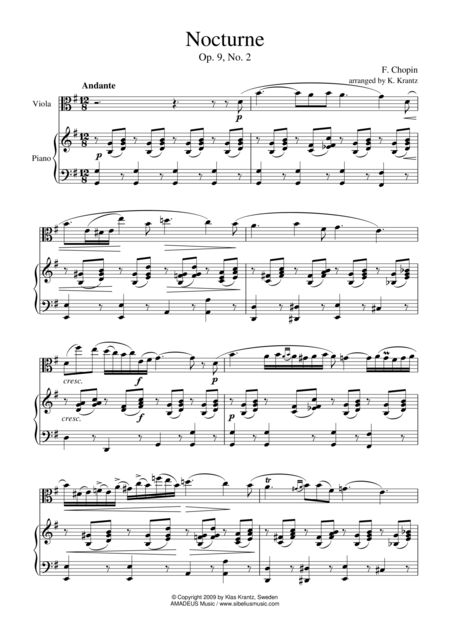 Nocturne, Op 9 No. 2, (abridged) for viola and piano