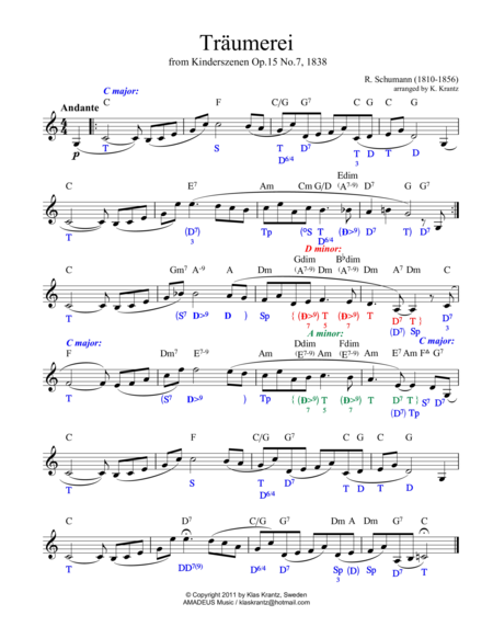 Traumerei / Dreaming - lead sheet with chords and harmonic analysis