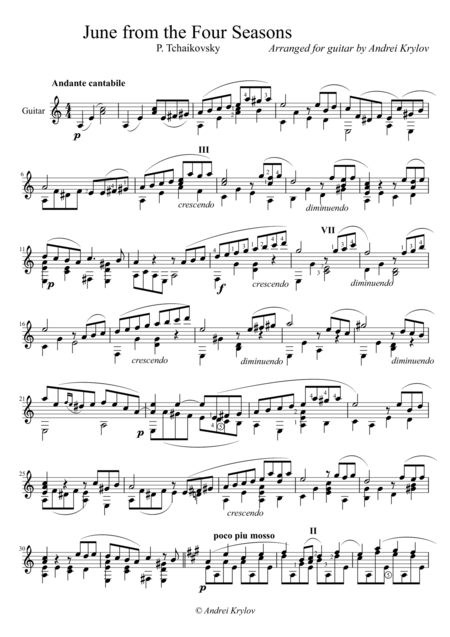 June from Four Seasons, classical guitar arrangement