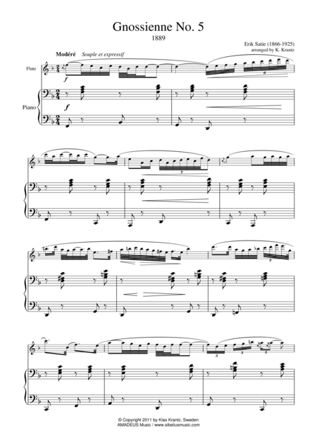 Gnossienne 5 for flute and piano