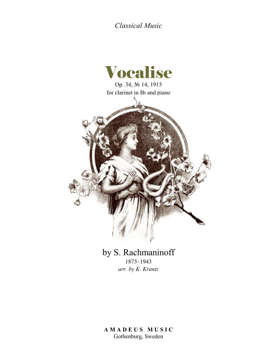 Vocalise Op. 34 for clarinet in Bb and piano