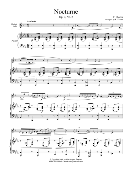 Nocturne, Op 9 No. 2, (abridged) for clarinet in Bb and piano