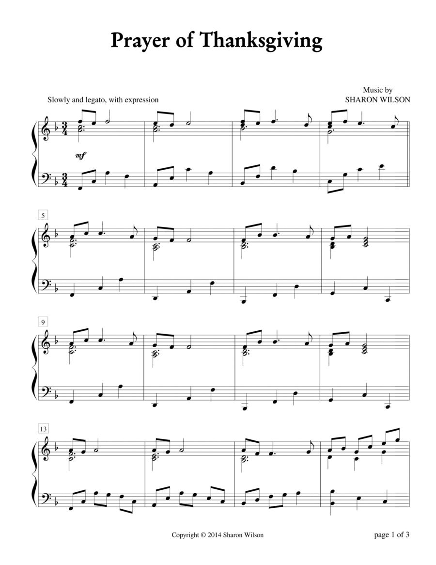 Prayer of Thanksgiving (Piano Solo)