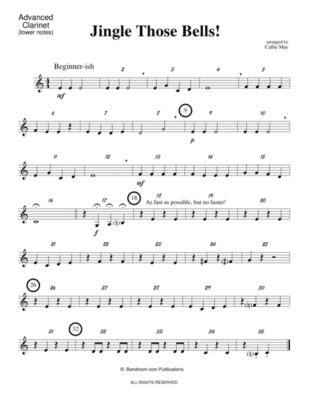 Jingle Those Bells! (beginner concert band; super easy; score, parts, and license to photocopy parts)