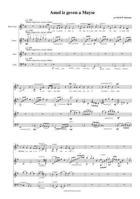 Amol iz geven a mayse for mezzo soprano, flute, cello and guitar