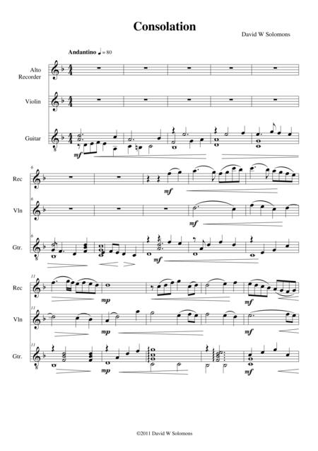 Consolation for alto recorder, violin and guitar