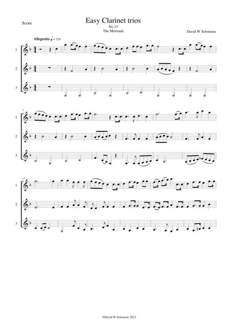 The mermaid for clarinet trio