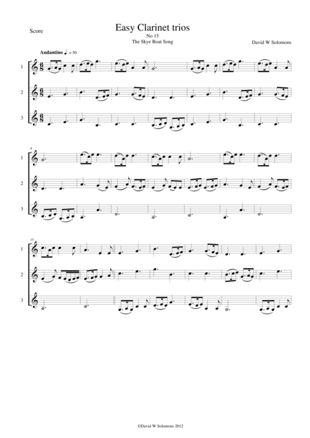 Skye boat song (Speed bonny boat) for clarinet trio
