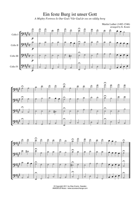 Ein feste Burg ist unser Gott for cello quartet
