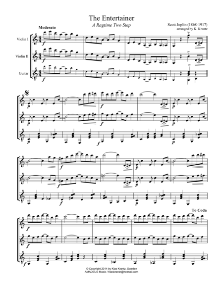 The Entertainer, Ragtime for violin duet and guitar (easy, abridged)